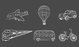 Hand draw sketch Transportation Travel icons. Plane, train, bus, car, balloon. Vector illustration Royalty Free Stock Images