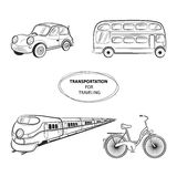 Hand draw sketch Transportation Travel icons. Train, bus, car, bike. Vector illustration Royalty Free Stock Images