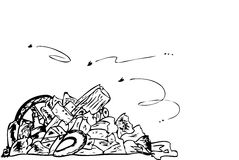 Hand draw sketch, Trash and trash bin Royalty Free Stock Images