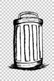 Hand draw sketch, Trash and trash bin Royalty Free Stock Photo