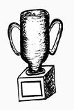 Hand draw sketch of trophy, isolated on white Stock Image