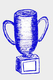 Hand draw sketch of trophy, isolated on white Royalty Free Stock Photo