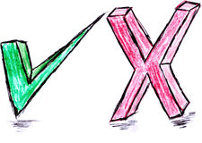 Hand draw sketch, true and false symbol Royalty Free Stock Photo