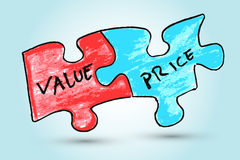Hand draw sketch,Value and price words written on two pieces of jigsaw puzzle Stock Photos