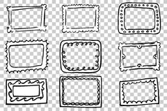 Hand draw sketch, Various Frames. Vector Hand draw sketch, Various Frames Royalty Free Stock Photos