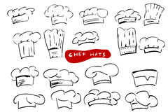 Hand Draw Sketch, Various Model of Chef Hats. Vector Hand Draw Sketch, Various Model of Chef Hats Royalty Free Stock Image
