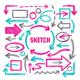 Hand draw sketch vector illustrations - creative sign set. Arrows, rectangles and ovals marker design elements. Abstract shapes. Stock Images