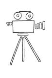 Hand Draw sketch of Video Camera, isolated on white Stock Image