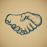 Hand draw sketch of vintage style hand shake vector. Illustration Royalty Free Stock Image