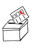Hand draw sketch, vote box Royalty Free Stock Image