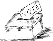 Hand draw sketch, vote box Stock Image