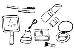 Hand draw sketch of woman stuff. Isolated on white Stock Photography