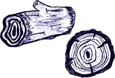 Hand Draw Sketch Wood Logs, on white Stock Image