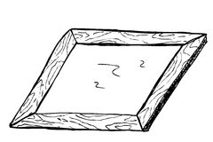 Hand draw sketch, wooden frame Royalty Free Stock Photography