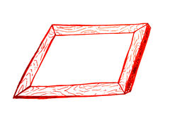 Hand draw sketch, wooden frame Royalty Free Stock Images