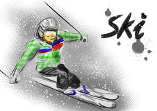 Hand draw ski Stock Photos