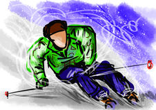Hand draw ski Stock Photo
