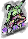 Hand draw snowboarding Stock Photo