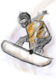 Hand draw snowboarding Stock Image