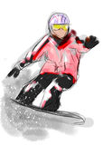 Hand draw snowboarding Royalty Free Stock Photo