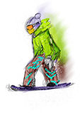 Hand draw snowboarding Royalty Free Stock Photography