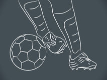Hand draw soccer player. With ball Royalty Free Stock Photography