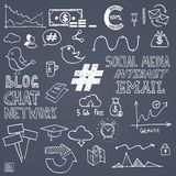 Hand draw social media sign and symbol doodles Stock Photography