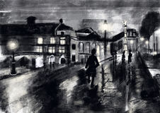 Hand draw street night Stock Images