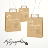 Hand draw style hand hold a 3d paper bag infographic elements Stock Photos