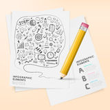 Hand draw style  pencil infographic elements Royalty Free Stock Image