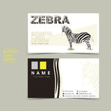 Hand draw style vector business card set with zebra Royalty Free Stock Photography