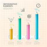 Hand draw style vector color pencil infographic elements Royalty Free Stock Images