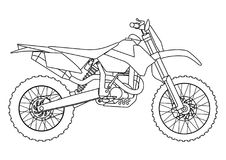 Hand draw style of a vector new motorcycle illustration for coloring book. Hand draw style of vector new motorcycle illustration for coloring book Royalty Free Stock Images