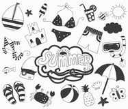 Hand Draw Summer Day Collections stock illustration