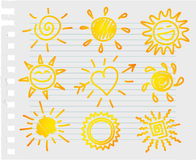 Hand-draw sun set Stock Image