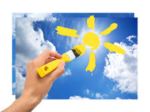 Hand draw the sun in sky Royalty Free Stock Photos