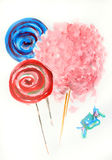 Hand draw sweets. Cotton candy and lollipop Royalty Free Stock Photos