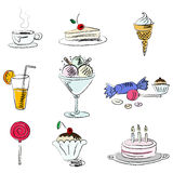 Hand draw sweets Royalty Free Stock Photography