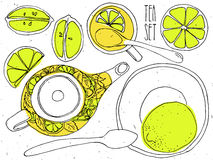 Hand-draw teapot and cup set - green tea with lemons royalty free illustration