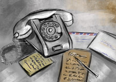 Hand draw telephone Royalty Free Stock Photography