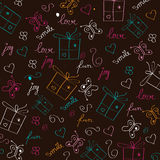Hand draw texture - seamless pattern with hearts, gifts, butterf Stock Photo