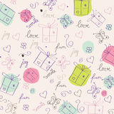Hand draw texture - seamless pattern with hearts, gifts, butterf Royalty Free Stock Photography