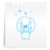 Tired cartoon on paper Note Royalty Free Stock Photo