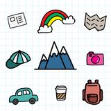 Hand draw travel icon set doodle with color. Cartoon travel icon.  Royalty Free Stock Photo