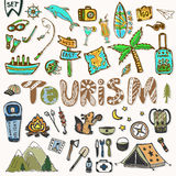 Hand draw Travel icons set. Summer holiday - camping and sea vacation. Journey doodle sketch elements in vector Royalty Free Stock Images