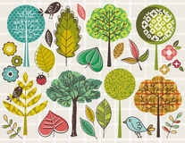 Hand draw  trees and leafs over checked background. Vector Stock Photography
