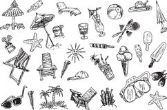 Hand draw vacation elements. Set Royalty Free Stock Photos