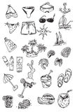 Hand draw vacation elements. Set Royalty Free Stock Images