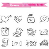 Hand draw of valentine day icons collection Royalty Free Stock Image