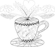 Hand draw vector coloring book for adult. Teatime. Cups of tea, fruits and flowers stock illustration